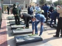 برگزاری آئین گلباران و عطر افشانی مزار شهدا با حضور فرماندار اسلامشهر